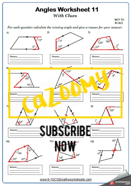 Angles Worksheet 11