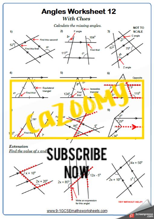 Angles Worksheet 12