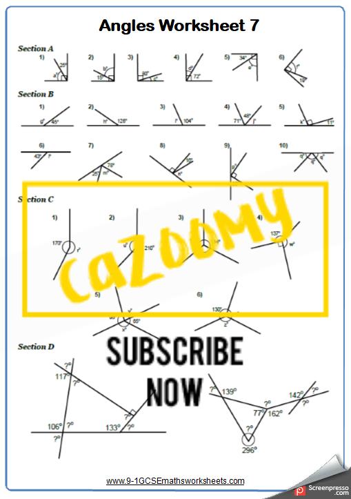 Angles Worksheet 7