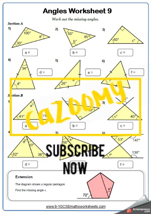 Angles Worksheet 9