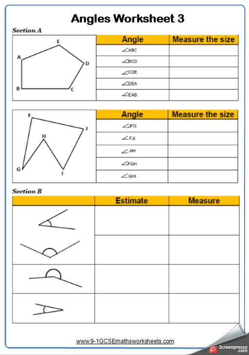 Measuring Angles Worksheet 3