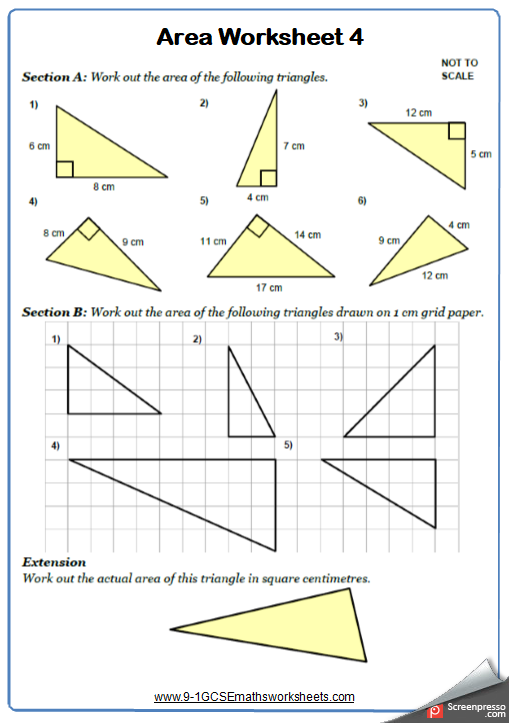Area of Triangles Worksheet 1