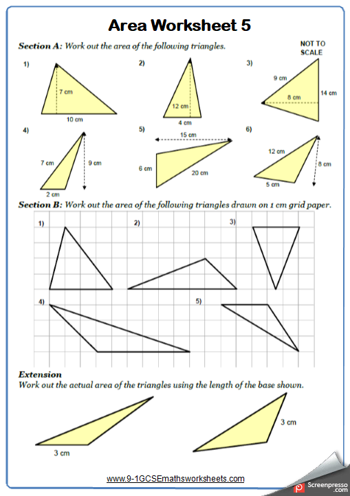 Area of Triangles Worksheet 2
