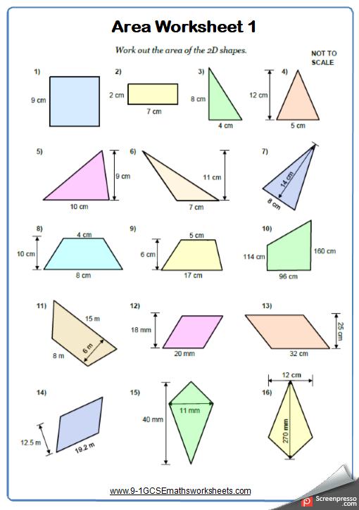 Area of Quadrilaterals Worksheet 1