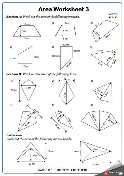 Area of Quadrilaterals Worksheet 3