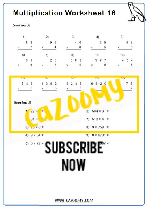 Arithmetic Worksheet 16