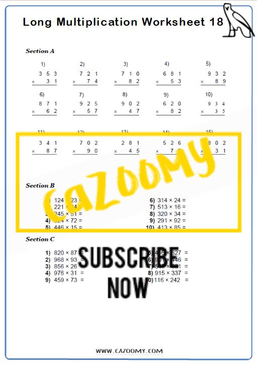 Arithmetic Worksheet 18