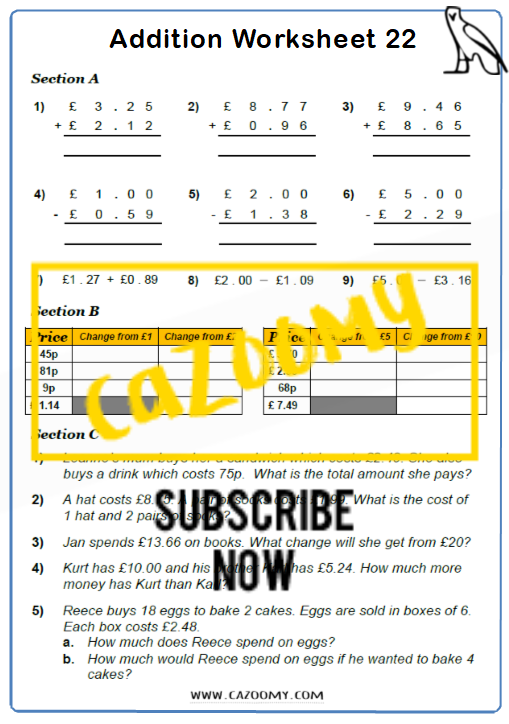 Arithmetic Worksheet 22