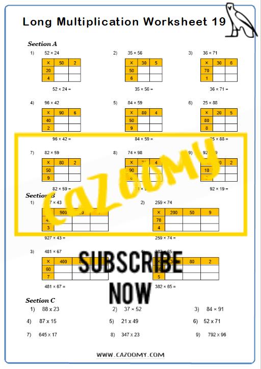 Multiplication Worksheet 10