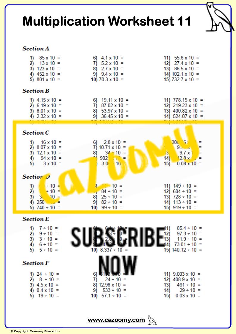 Multiplication Worksheet 11