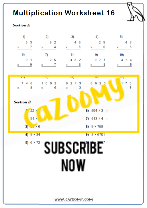 Multiplication Worksheet 7