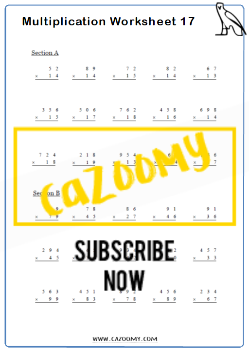 Multiplication Worksheet 8