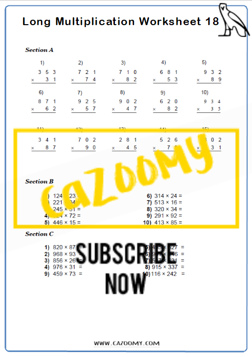 Multiplication Worksheet 9