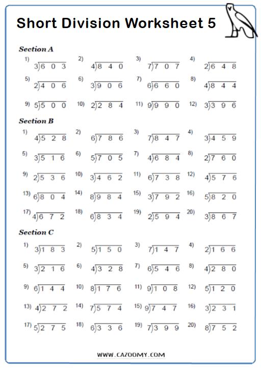 Short Division Worksheet 2
