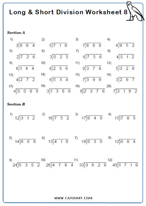 Short Division Worksheet 5