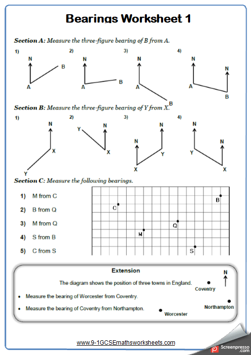 Measuring Bearings Worksheet 1