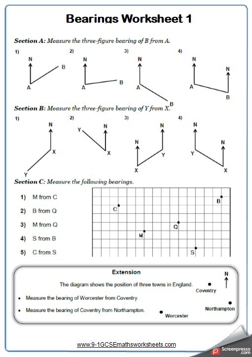 Measuring Bearings Worksheet 1