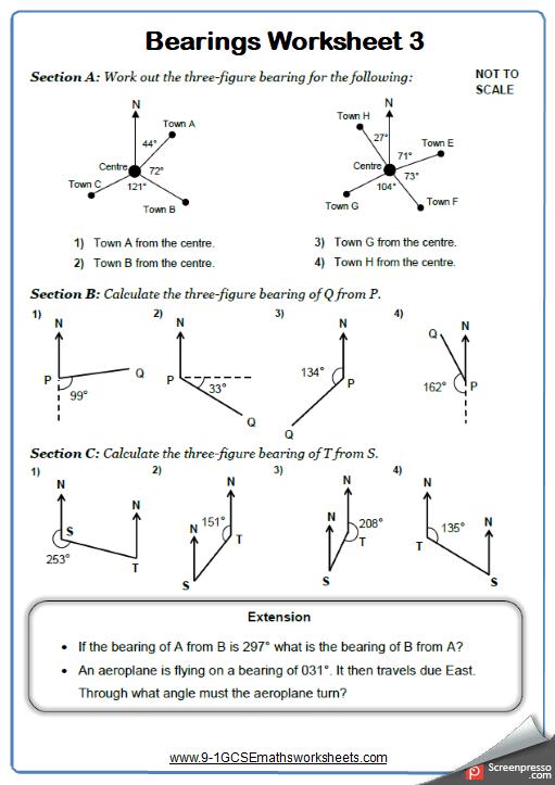 Measuring Bearings Worksheet 3