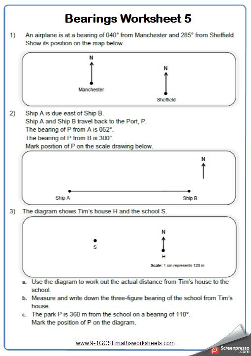 Measuring Bearings Worksheet 5