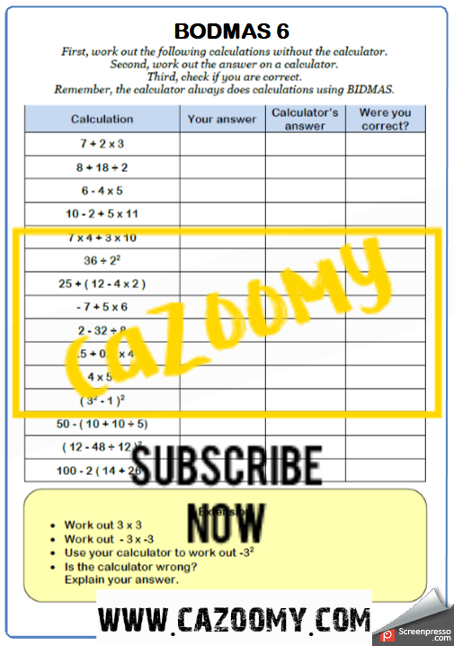 BODMAS Worksheet 6