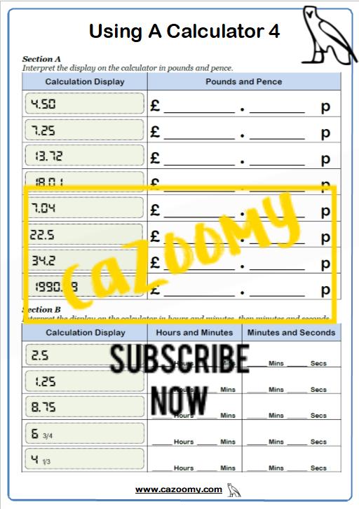 Calculator Worksheet 4