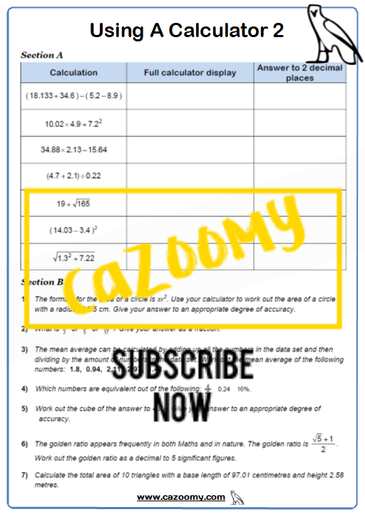 Using A Calculator Worksheet 2