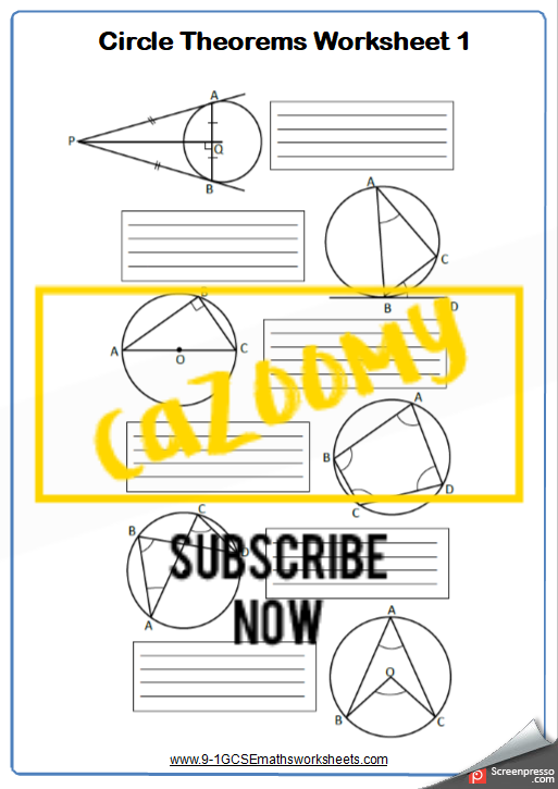 Circle Theorems Worksheet 1
