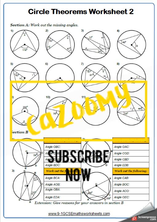 Circle Theorems Worksheet 2