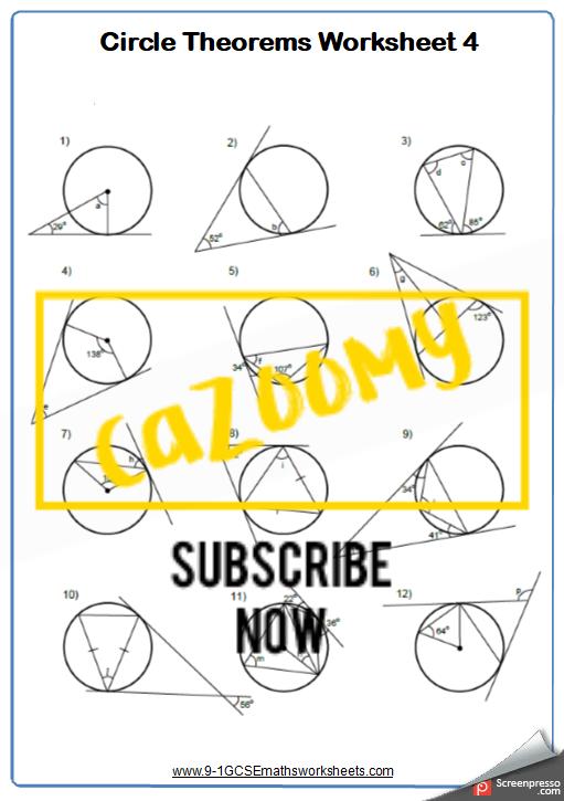 Circle Theorems Worksheet 4