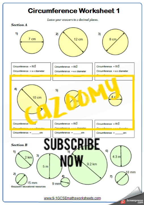 Circumference Worksheet 1