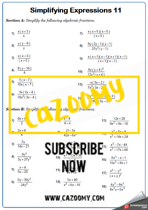 Collecting Like Terms Worksheet 11