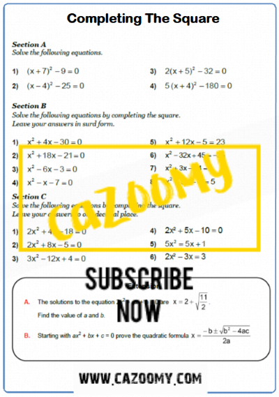 Completing The Square Worksheet 1