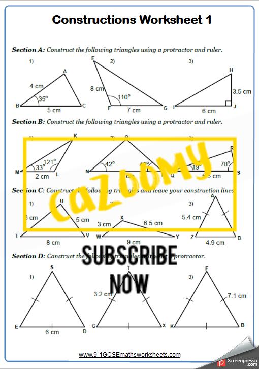 Constructions Worksheet 1