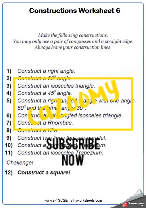 Constructions Worksheet 6