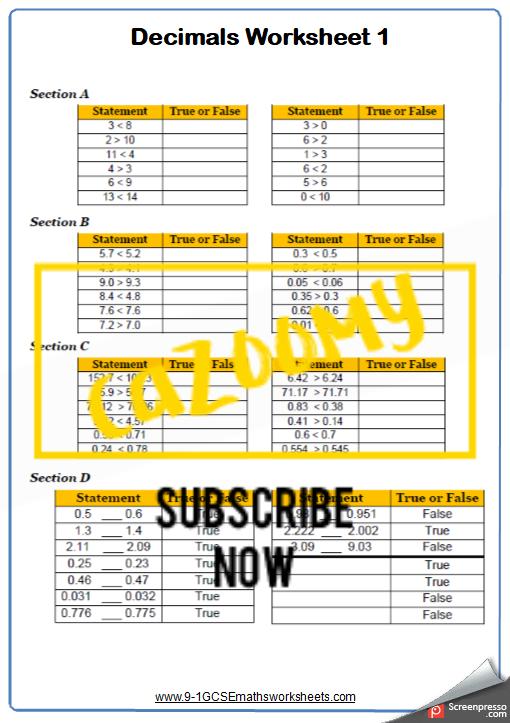Decimals Worksheet 1