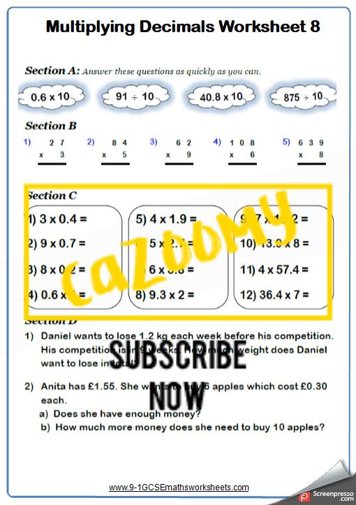 Decimals Worksheet 8