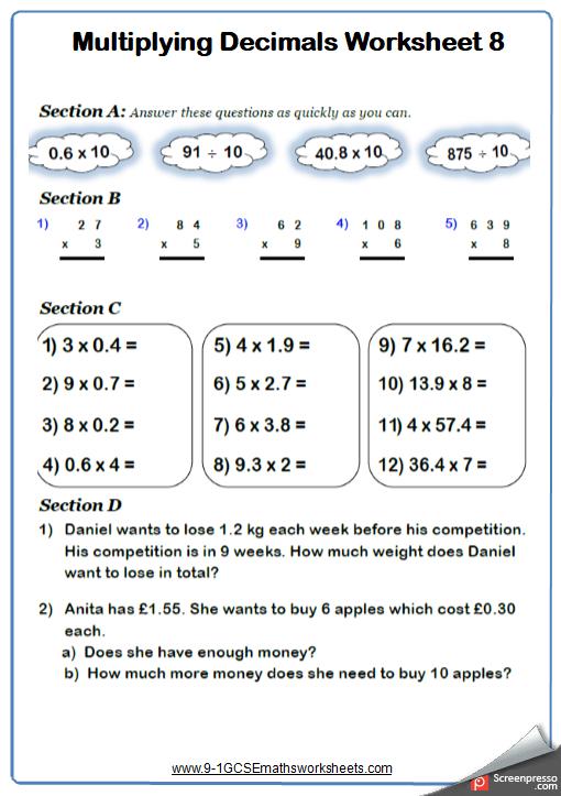 Dividing Decimals Worksheet 3