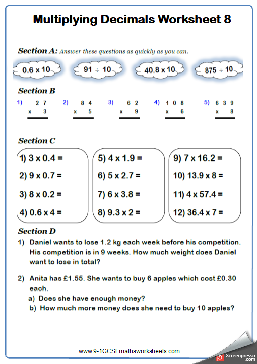 Multiplying Decimals Worksheet 3