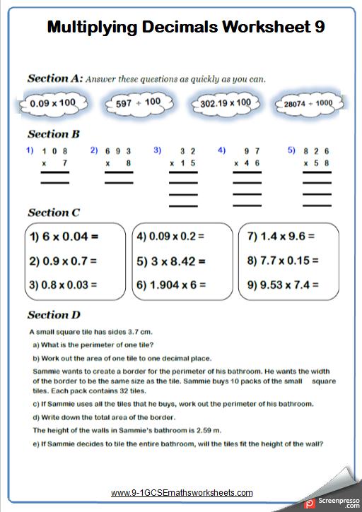 Multiplying Decimals Worksheet 4
