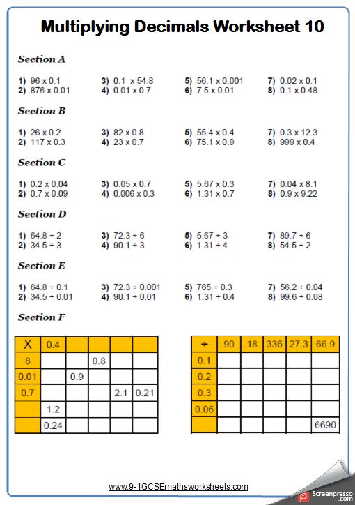 Multiplying Decimals Worksheet 5