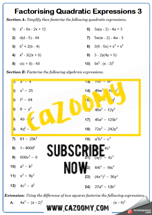 Difference of Two Squares Worksheets   Practice Questions ...