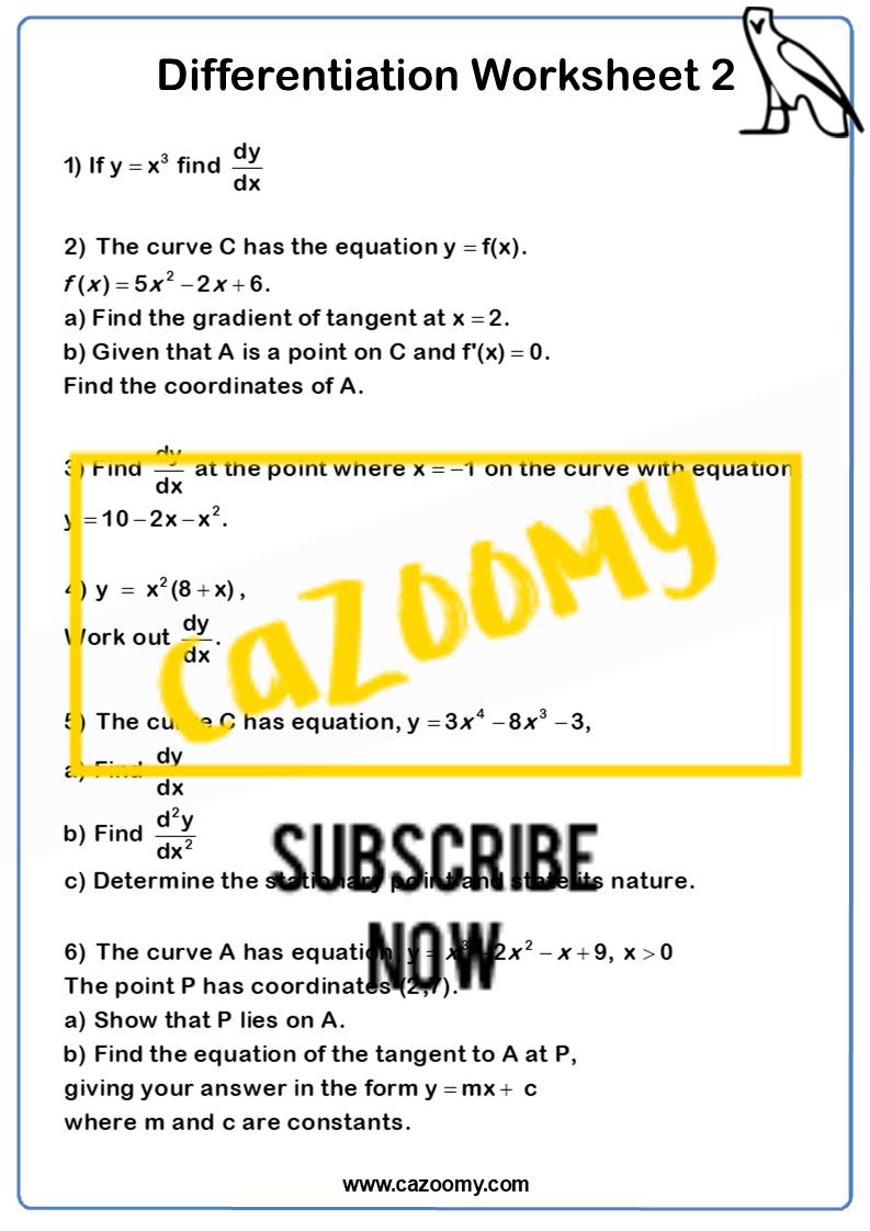 Differentiation Worksheet 2