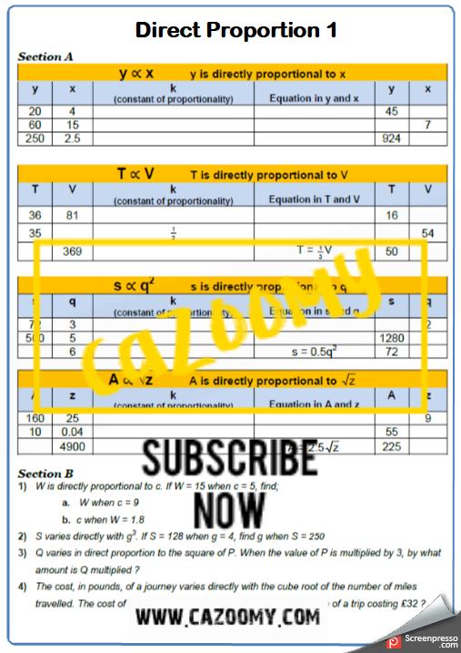 Direct Proportion Worksheet 1