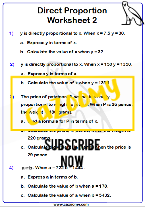 Direct Proportion Worksheet 2