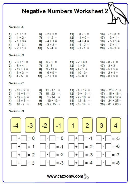 Directed Number Worksheet 2