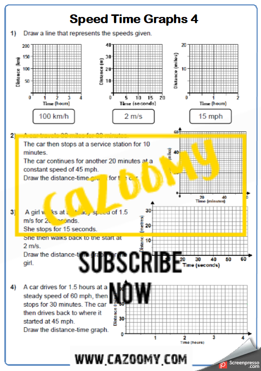 Distance Time Graphs Worksheet 2