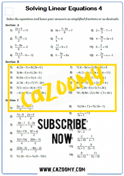 Equations Worksheet 12