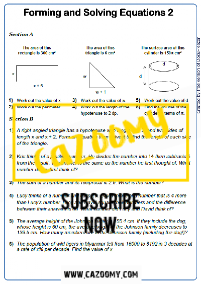 Equations Worksheet 2