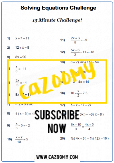 Equations Worksheet 5