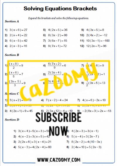 Equations Worksheet 7